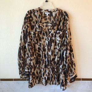 Fashion Bug Sheer Long Sleeve Blouse Cover Up